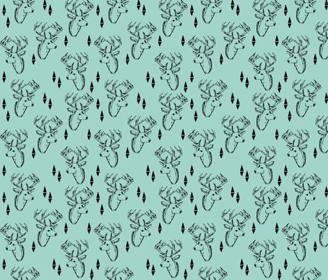 deer head // mint triangle tri kids nursery baby boy  fabric by andrea_lauren on Spoonflower - custom fabric