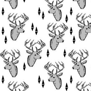 deer head // grey antlers taxidermy kids geometric deer hunting nursery boy