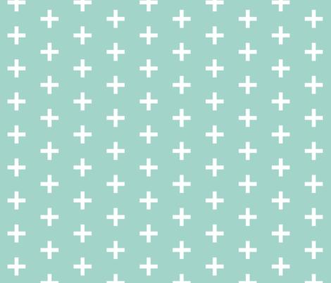 plus // plus sign swiss cross mint kids nursery baby fabric by andrea_lauren on Spoonflower - custom fabric