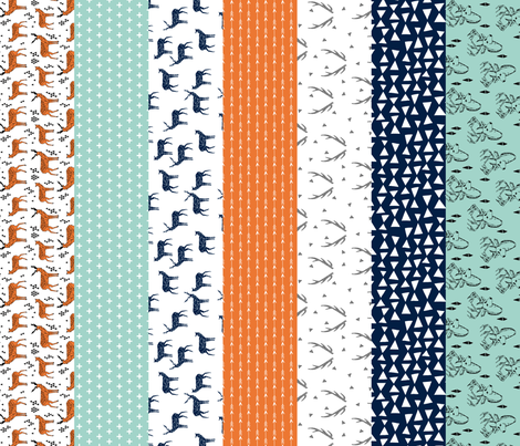 deer quilt // cheater quilt boys mint navy blue and orange hunting antler baby quilt fabric by andrea_lauren on Spoonflower - custom fabric