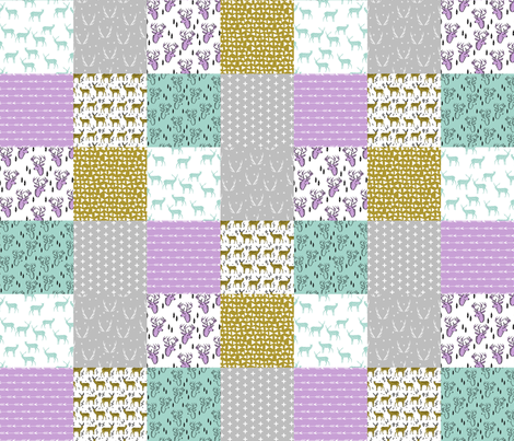 deer quilt // mint purple patchwork grey cheater quilt wholecloth baby nursery baby qilt fabric by andrea_lauren on Spoonflower - custom fabric