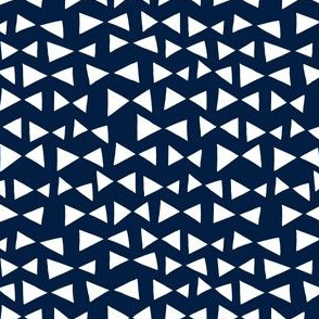 Bow Tri - // navy triangles deer quilt collection navy blue triangles