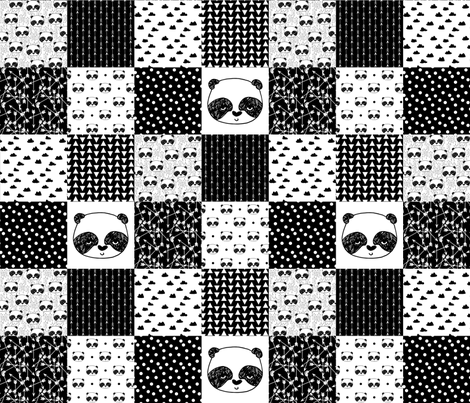 panda quilt // patchwork fake quilt panda black and white nursery baby whole cloth cheater quilt fabric by andrea_lauren on Spoonflower - custom fabric