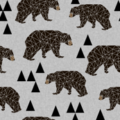 geometric bear // slate linen look background trendy neutral triangle fabric for nursery decor and illustration patterns