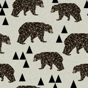 geometric bear // natural linen look bear with triangles geometric trendy bear for boys and nursery print