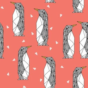 geo penguin // coral pink orange penguins birds bird kids antarctic