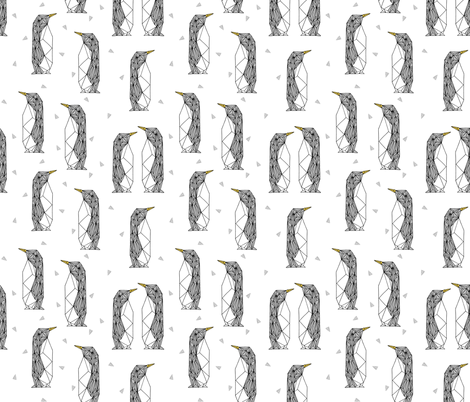 geo penguins // white penguin pingu bird bird grey winter kids fabric by andrea_lauren on Spoonflower - custom fabric