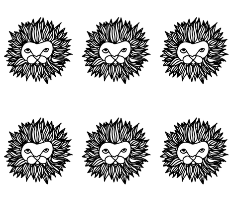 lion // cut and sew plush plushie black and white kids safari nursery baby  fabric by andrea_lauren on Spoonflower - custom fabric