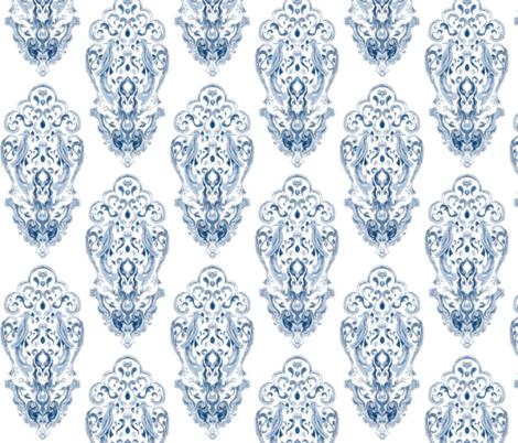 Vintage Love Birds In Delft Navy on White fabric by azureelizabethdesign on Spoonflower - custom fabric