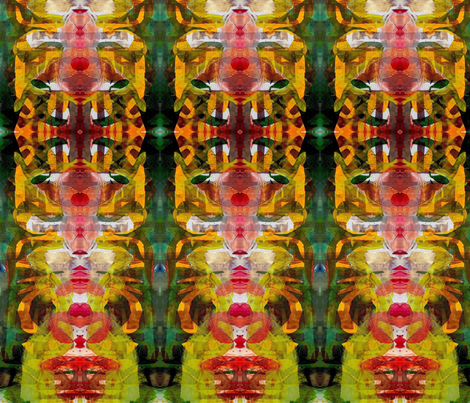 """""""Abstract Painterly/Red & Green"""" fabric by elizabethvitale on Spoonflower - custom fabric"""