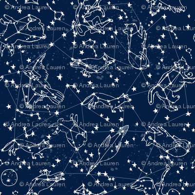 constellations // night time kids sky animals fox bear birds stars astronomy navy blue nursery