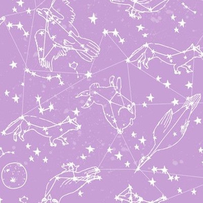 constellations // purple pastel nursery kids girls animals cute stars night sky