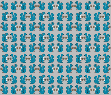 squirrels fabric //  grey and blue squirrels cute kids design baby  fabric by andrea_lauren on Spoonflower - custom fabric