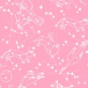 constellations // pink girls cute dreams sky nursery baby cute animals