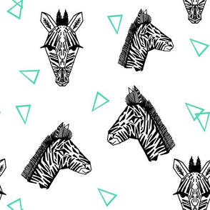 Zebras - White/Jade by Andrea Lauren
