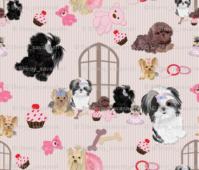 Yorkie Black Shih Tzu Amp Puppy Window Seat Buddy Fabric
