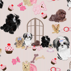 Yorkie, Black Shih tzu & puppy Window Seat Buddy Fabric