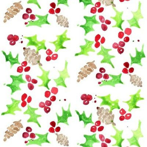 holly berries and pine cones