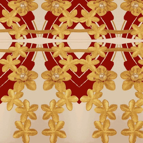 Flowers of Gold on red