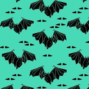 bat // geo geometric bat spooky halloween kids spooky bright green design