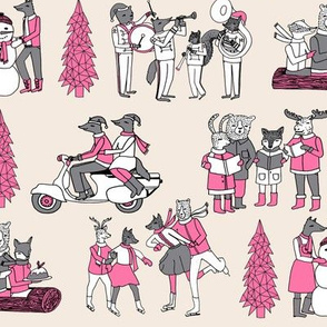 woodland christmas // vintage christmas retro christmas fabric woodland cute fabric animals cute christmas fabrics