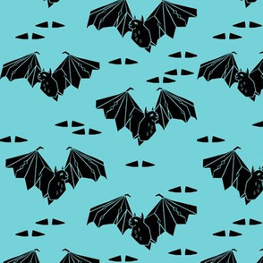 bat // geo bat geometric bright aqua kids triangles bats spooky halloween fabric