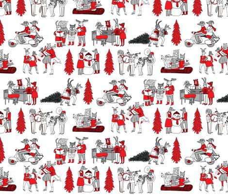 woodland christmas vintage christmas woodland christmas retro christmas christmas village cute christmas animals fabric