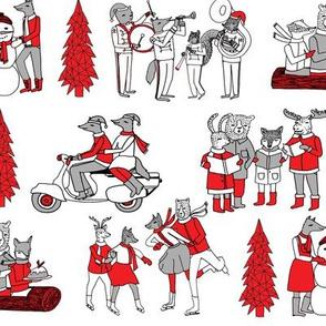 woodland christmas // vintage christmas woodland christmas retro christmas christmas village cute christmas animals