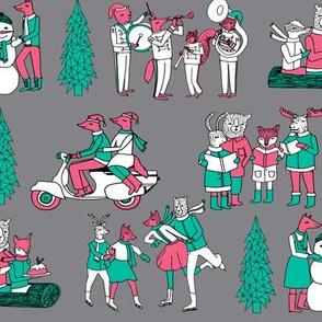 woodland christmas // vintage woodland christmas retro christmas cute christmas characters