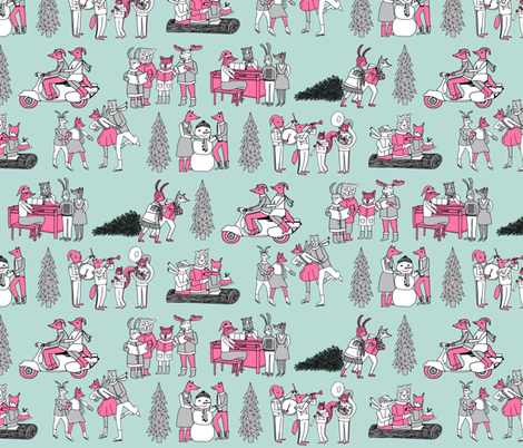 woodland christmas // vintage christmas fabric woodland fabric vintage retro christmas andrea lauren andrea lauren fabrics fabric by andrea_lauren on Spoonflower - custom fabric