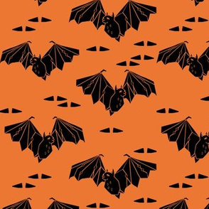 bat // geometric bat orange halloween black and orange scary bat fabric
