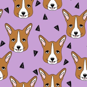 corgi // purple corgis fabric pastel design nursery pet dogs fabric