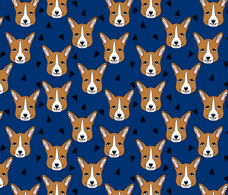 corgi // navy blue corgis andrea lauren corgi fabric nursery design navy blue  fabric by andrea_lauren on Spoonflower - custom fabric