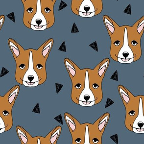 corgi // blue corgis dog design dog fabric andrea lauren fabric