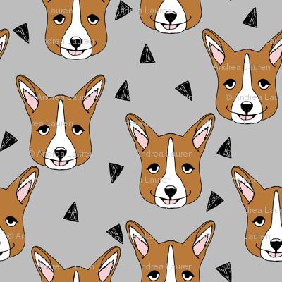 corgis // grey corgi face pet dog fabric