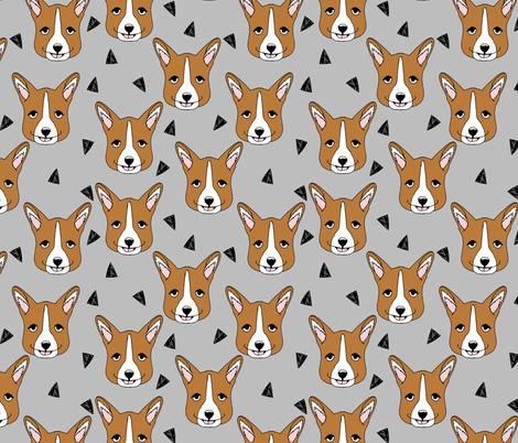 corgis // grey corgi face pet dog fabric fabric by andrea_lauren on Spoonflower - custom fabric
