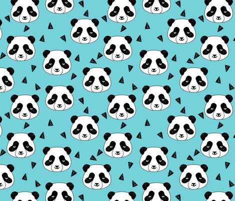 Hello Panda - Aqua by Andrea Lauren  fabric by andrea_lauren on Spoonflower - custom fabric