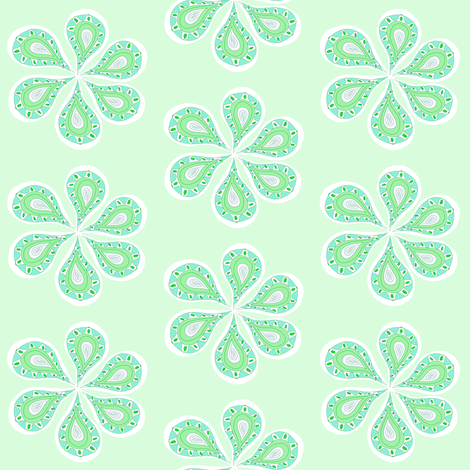 Groovy Mint Green Paisley  fabric by ireneireneart on Spoonflower - custom fabric
