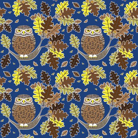 Owl and Oak dark blue fabric by amyperrotti on Spoonflower - custom fabric