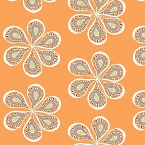 Groovy Paisley Large  Flower Orange