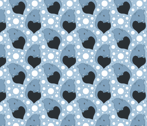 Whimsical Guinea pigs with hearts - blue fabric by rusticcorgi on Spoonflower - custom fabric