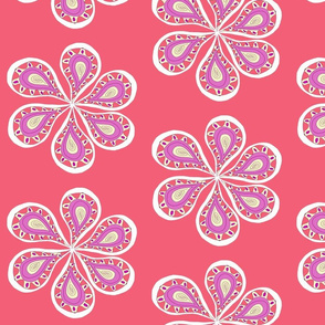 Groovy Paisley Large  Flower Pink Melon