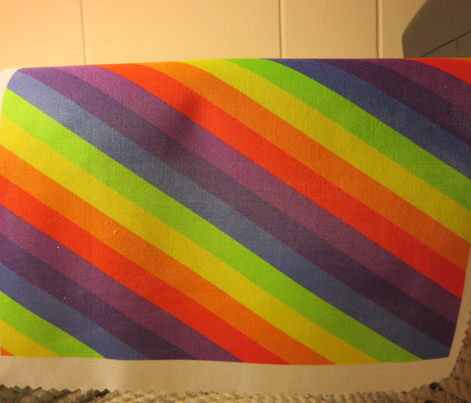 Rainbow Diagonal Stripes One Yard Design