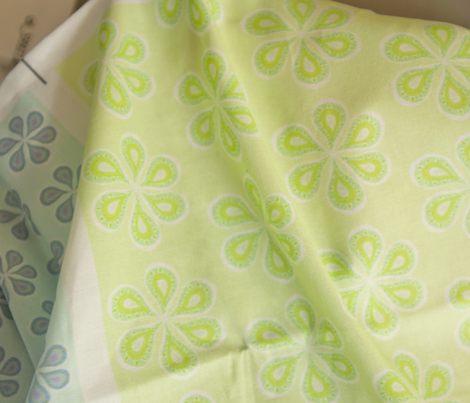 Groovy Mint Green and Lime Green Flower Power