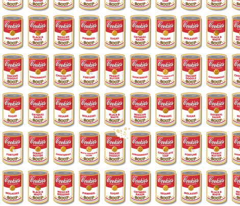 Snicker Doodle Soup || cookies cans pop art food typography fabric by pennycandy on Spoonflower - custom fabric