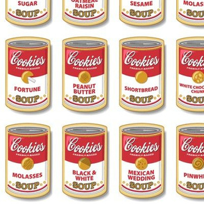 Snicker Doodle Soup || cookies cans pop art Andy Warhol food typography