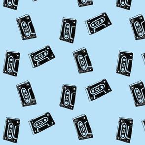 Blue Rewind Cassette Tapes
