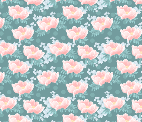 peonies on green fabric innamoreva spoonflower