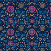 Folk Flowers - Navy