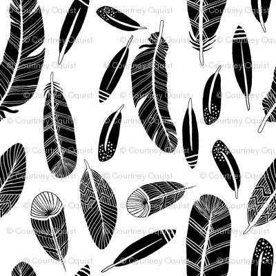 Black Feathers on White